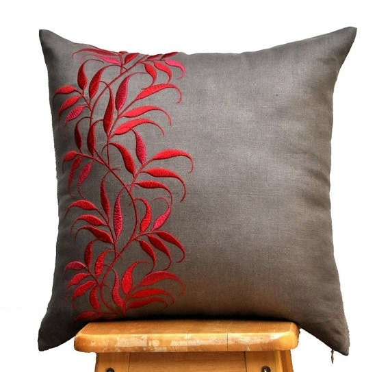 Leaves pillow cover medium taupe linen red leaf by