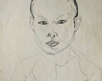 Thai Nun,  pencil, sketched & signed by the artist, Only one