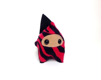 Handmade Plush Ninja Interactive WannaBe Dragon Monster - Red and Black Zebra Print with  Black Spikes (Medium)