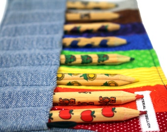 Rainbow Pencil Roll - Made for Little Hands - Includes A Set of 8 Colored Pencils - Made from Upcycled Denim