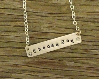 Sterling silver hand stamped 1/4 inch bar pendant necklace handstamped with choose joy 1 1/4 inch long silver necklace gift