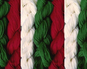 900 yards worsted weight yarn, 9 skeins, one pound - white, green and red, Christmas knitting
