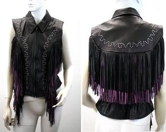 SALE: Woman's Vintage Studded  Black and Purple Leather Fringe Vest