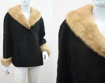 Gorgeous Woman's Vintage Black Curly Lamb Jacket with Light Brown Mink Trim