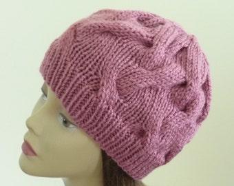 Cable Knit Hat - Soft Wave Cables in Rose - Ready to Ship - Direct Checkout