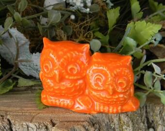 Ceramic  OWL Miniatures on a Log ceramic miniature hoots Fruit Orange 2 barn Owl wedding topper for cake  Hoots Pottery #2log