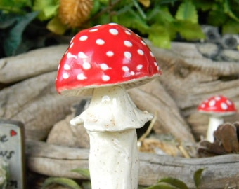 Garden Mushroom Ceramic 1 red Mushroom Toadstool  Statues  Home Grown Ceramic  Shrooms -  muscaria fly handmade tiny sized