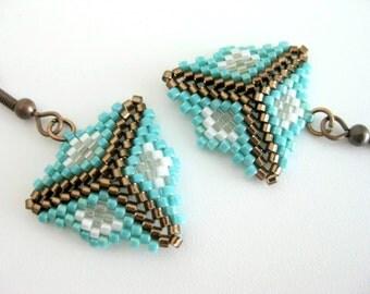 Peyote Earrings / Peyote Triangle Earrings / Beaded Earrings in turquoise, Brown and White / Sterling Silver Earrings / Seed Bead Earrings /