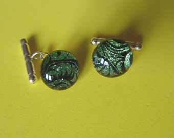 Dichroic Glass Cufflinks Mens Jewellery 925 Sterling Silver Chain and Toggle Findings Green Feather Plume Handmade