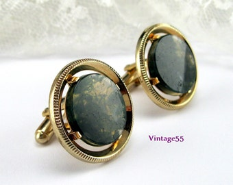 Cuff links Green Agate Moss Polished 10K plate