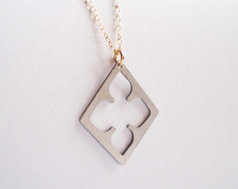 Long Diamond Quatrefoil Necklace, Long Necklace, Layering Necklace, Quatrefoil Necklace
