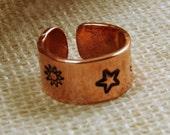 Copper Ring, Hand Stamped Ring, Sun, Moon, Stars, Celestial, Copper Ring, handmade
