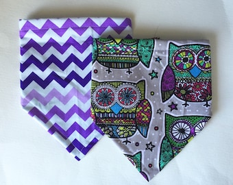 Owl and Chevron Bibdana, Bandana Bib for Baby Girl, Baby Shower Gift