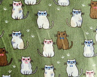 Classy Cats on Green - Animal Cotton Fabric - Half Yard