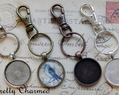 5 Key Chain Kits - 1 Inch Pendant Trays with Glass Cabochons and Lobster Clasp Key Rings