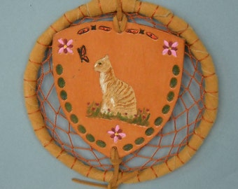 Tabby Cat Dream Catcher, Cat Totem, Shield Wall Hanging