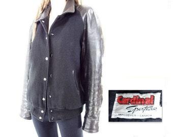 70s Varsity Jacket, 1970s Letterman, Black Varsity Jacket, 70s Bomber Jacket, 70s Wool Leather, Women m, l, Men m