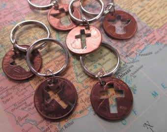 The Ruth Key Chain - Cross or Angel Cut Out Penny Key Chain