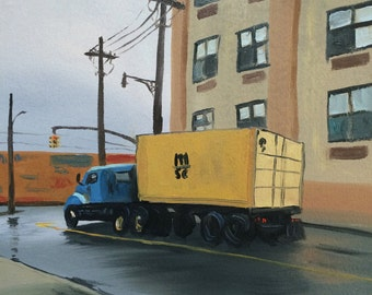 """Blue and Yellow Truck on Wyckoff Avenue, original oil painting on paper, 9"""" x 9"""""""