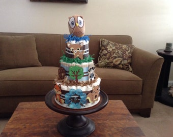 Woodland woodland Theme Diaper Cake Baby Shower Centerpiece Owl other colors and sizes two