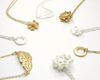 Layer Collection - Simple Delicate Minimal Necklace - Choose Your Pendant Necklace - Dainty Delicate Silver And Gold Necklaces