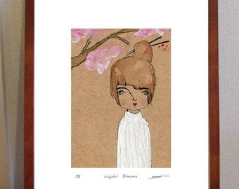 Miyuki's Blossoms -  A4 Print of japanese girl under cherry blossoms