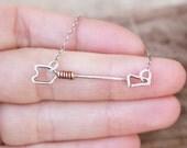 Arrow Necklace, Silver, Copper, Wire