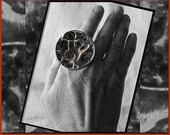 Dark Side of the MOON,Super Big Brutalist Space Age Ring,Adjustable,Vintage Jewelry,Unisex