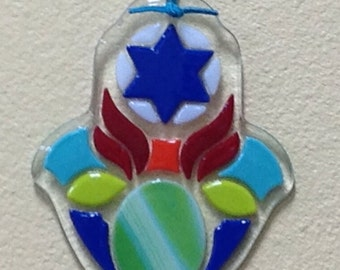 Hamsa in Fused Glass