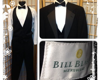 80s Bill Blass black tuxedo with vest bowtie pants and shoes mens size 44