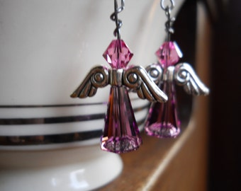 Angel Earrings Swarovski crystal dangle earring purple Swarovski Crystal Angel earrings Angel earring Made in USA