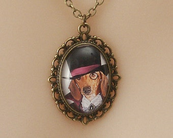 Steampunk Dog, Pendant with antiqued bronze chain