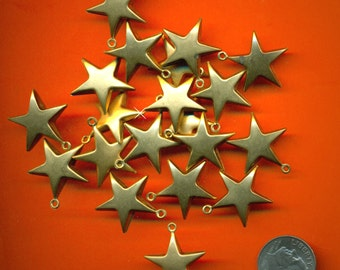 Vintage 4 Satin Gold ? Plated Gorgeous Unusual 3-D Star Pendant Charms 21X19MM Q3L B