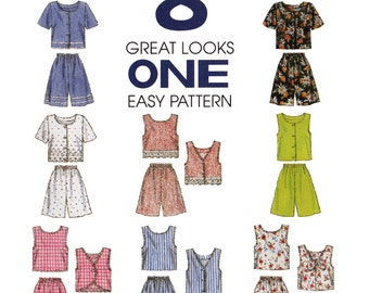 Misses Top and Shorts Sewing Pattern - Womens Playsuit Pattern - McCalls 8248 - Uncut, FF