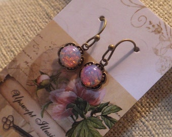 Tiny Opal Earrings ~ Vintage Style Drops ~ Vintage Glass ~ Dangle or Post