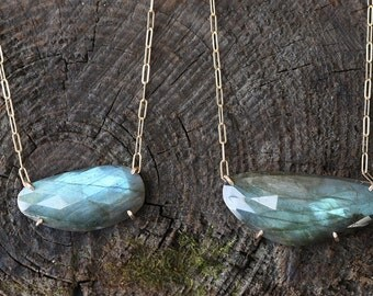 Natural Rose Cut Labradorite Necklace