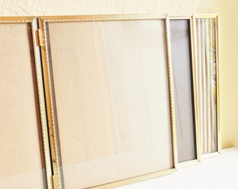 Three 3 Folding 8x10 Gold Metal Picture Frames with Glass Wedding Decor Family Pictures