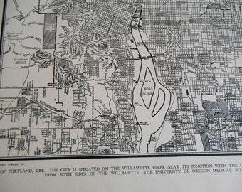 Portland city map, Vintage 1937 Portland Oregon, old street map for wall art