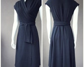Classic wrap dress,  shawl wrap, long black dress, organic dress,  handmade dress, more colors