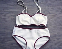 Organic cotton lingerie set, warm lingerie set, white underwear, organic underwear, organic bra, organic panties, handmade
