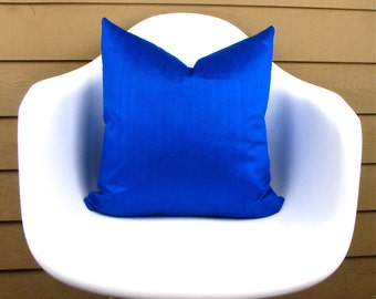 COBALT Blue Silk Pillow Cover - Royal Blue pillow cover - Cobalt Pillow cover - Cobalt Toss Pillow Cover