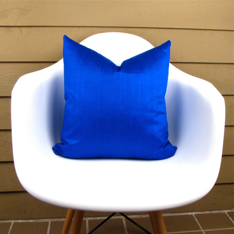 Cobalt Blue Throw Pillow Covers : COBALT Blue Silk Pillow Cover Royal Blue pillow cover