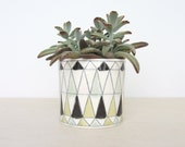 Round Porcelain Planter with Stained Glass Pattern - Ready to Ship