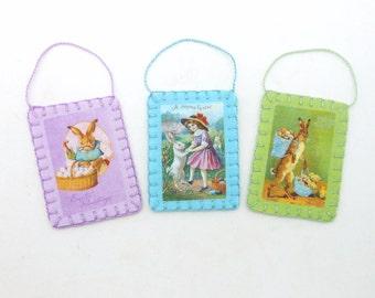 Mini Reproduction Vintage Easter Image Postcard Ornaments - Set of 3