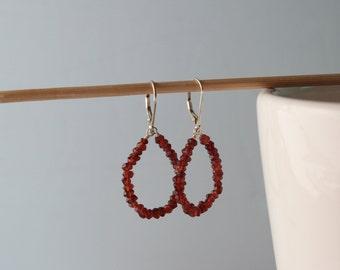 Garnet Hoop Earrings.
