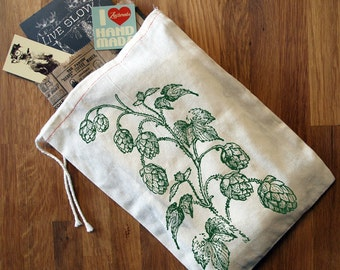 "GIFT BAG / 8x11"" HOPS - Hand Printed Drawstring Reusable Cotton Bag"