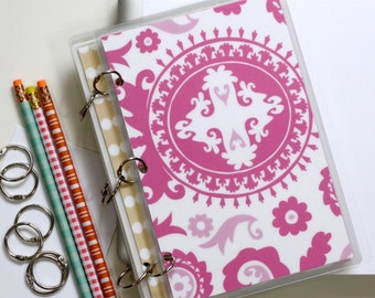 Planner Cover, 6 x 9 Journal Binder, Suzani, Pink