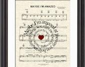 Maybe I'm Amazed Song Lyric Sheet Music Art Print, Paul McCartney, Song Lyric Art, Beatles Music, First Dance,Spiral Lyric, Names and Date