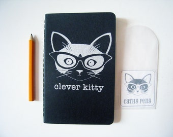 Clever Kitty Moleskine Black Cahier/Journal/Notebook - Lined Paper