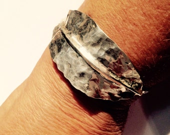 Silver Leaf bracelet cuff-hammered and forged Silversmith work-Handmade Udjustable